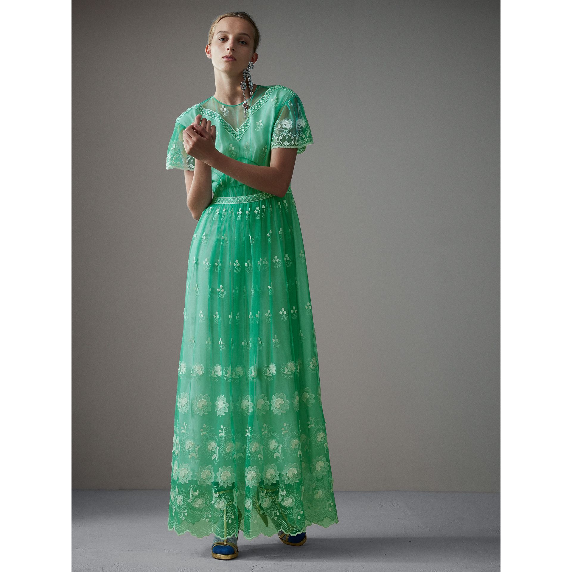 Embroidered Tulle Gathered Dress in Aqua Green/white - Women | Burberry United States - gallery image 0