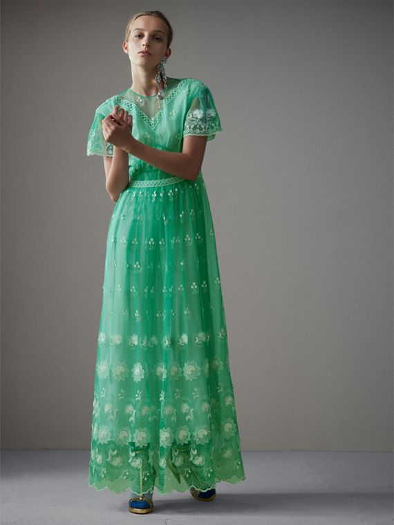 Embroidered Tulle Gathered Dress in Aqua Green/white