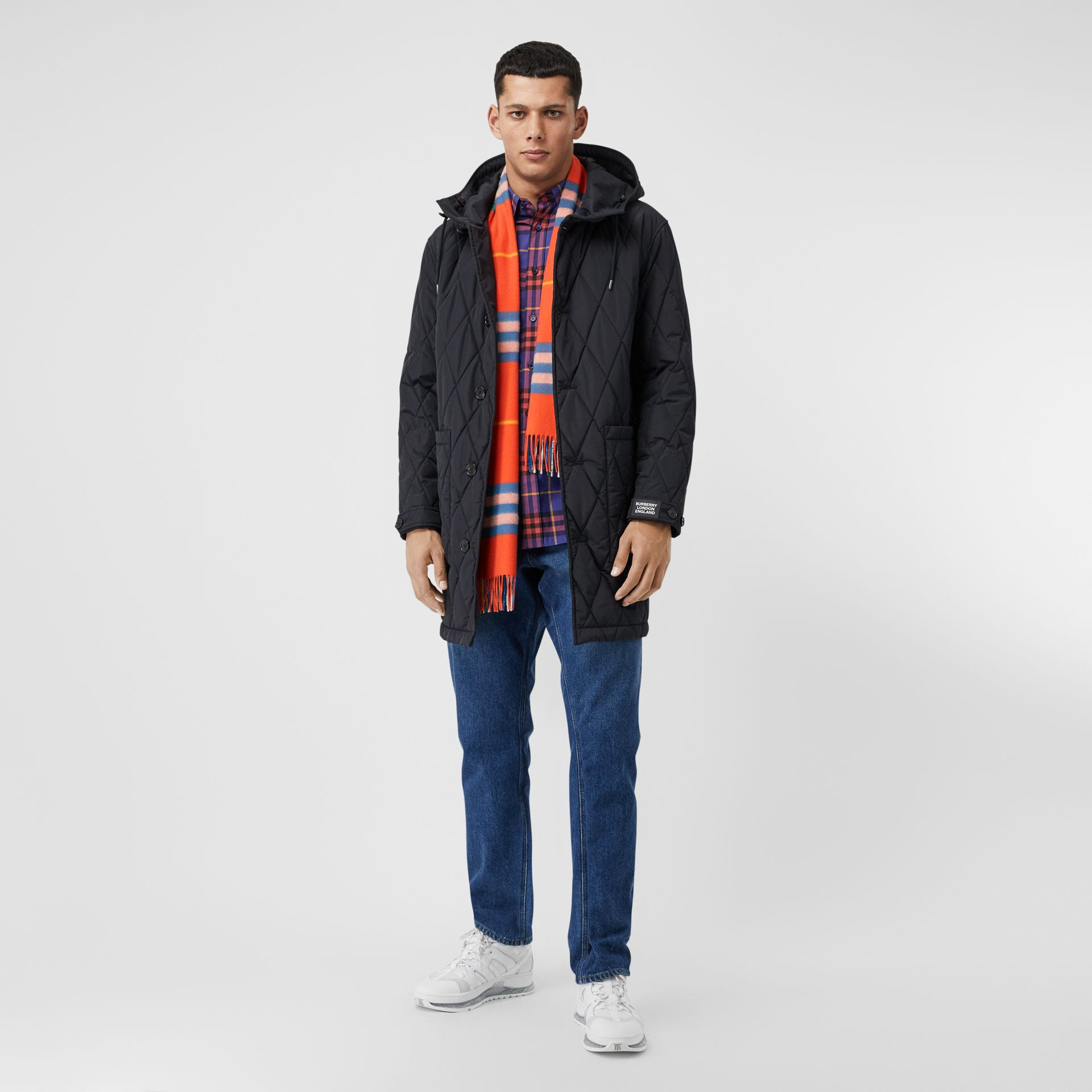 The Classic Check Cashmere Scarf in Bright Vermillion | Burberry United States - gallery image 7