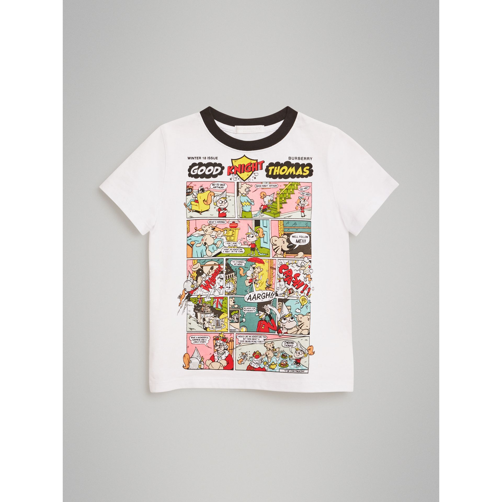 Thomas Bear Comic Print Cotton T-shirt in White | Burberry - gallery image 0