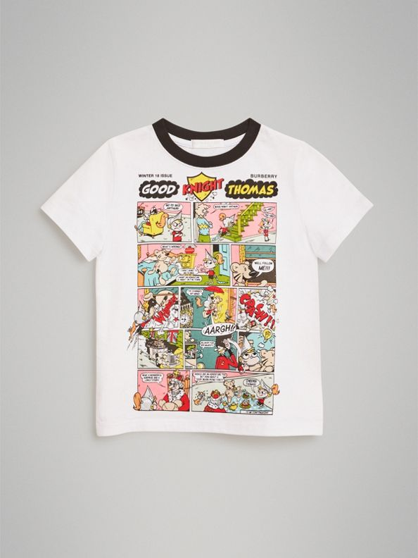 Thomas Bear Comic Print Cotton T-shirt in White