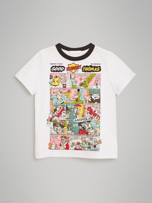 T-shirt à manches longues en coton à imprimé BD Thomas Bear (Blanc)