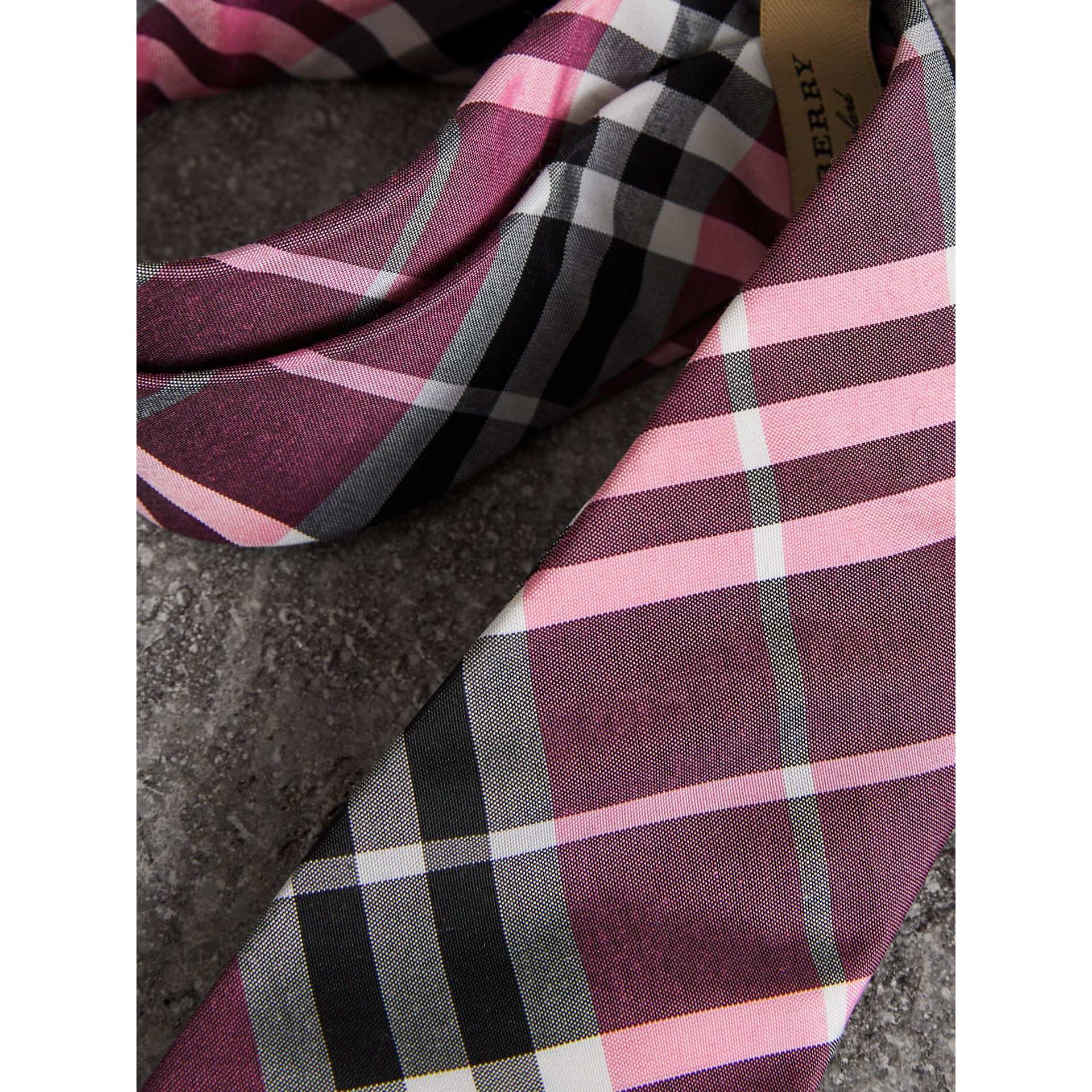Modern Cut Check Silk Tie in Rose Pink - Men | Burberry Canada - gallery image 1