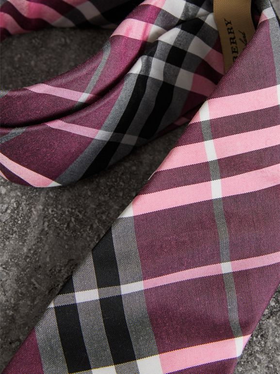Modern Cut Check Silk Tie in Rose Pink - Men | Burberry Canada - cell image 1