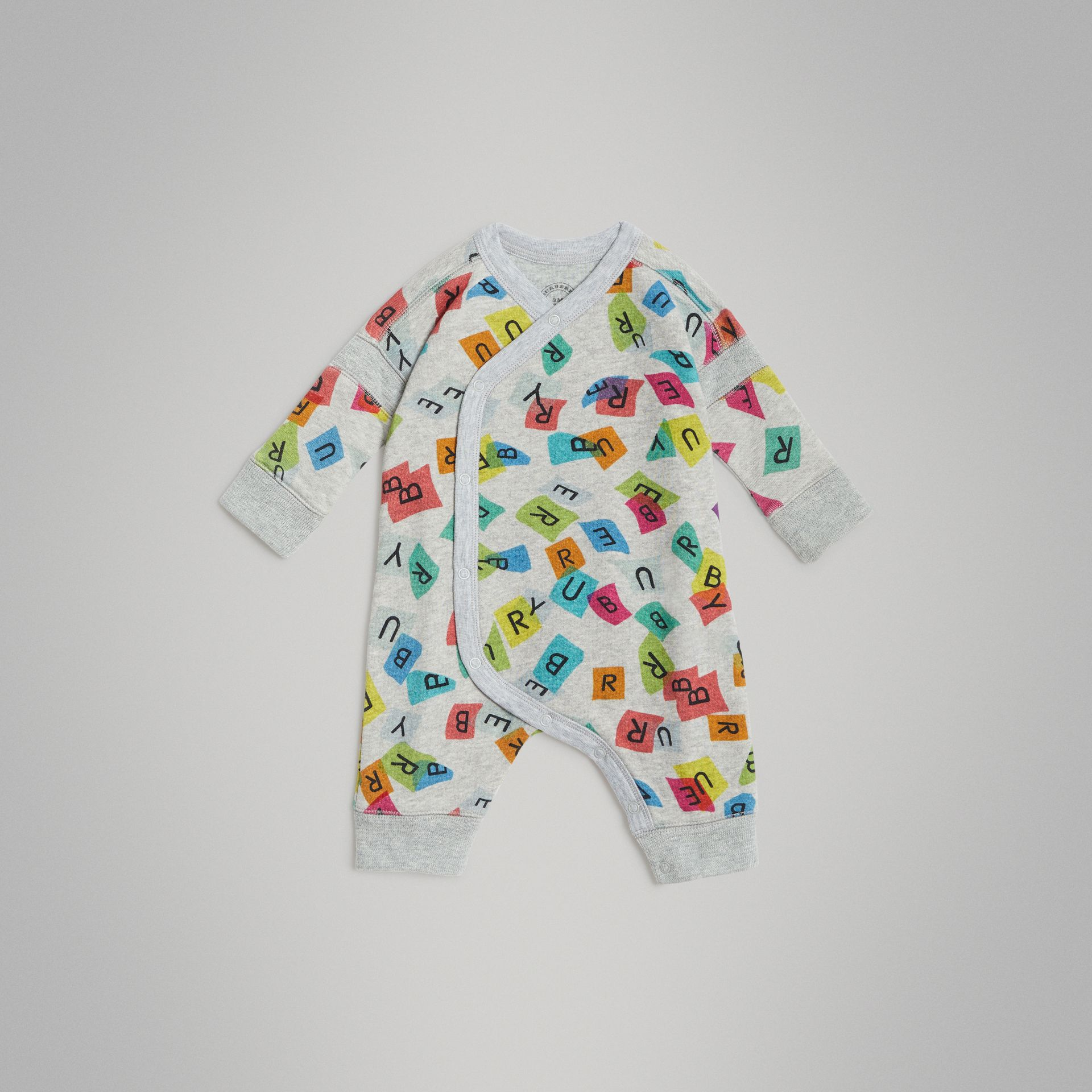 Confetti Letter Print Cotton Jumpsuit in Grey Melange - Children | Burberry - gallery image 2