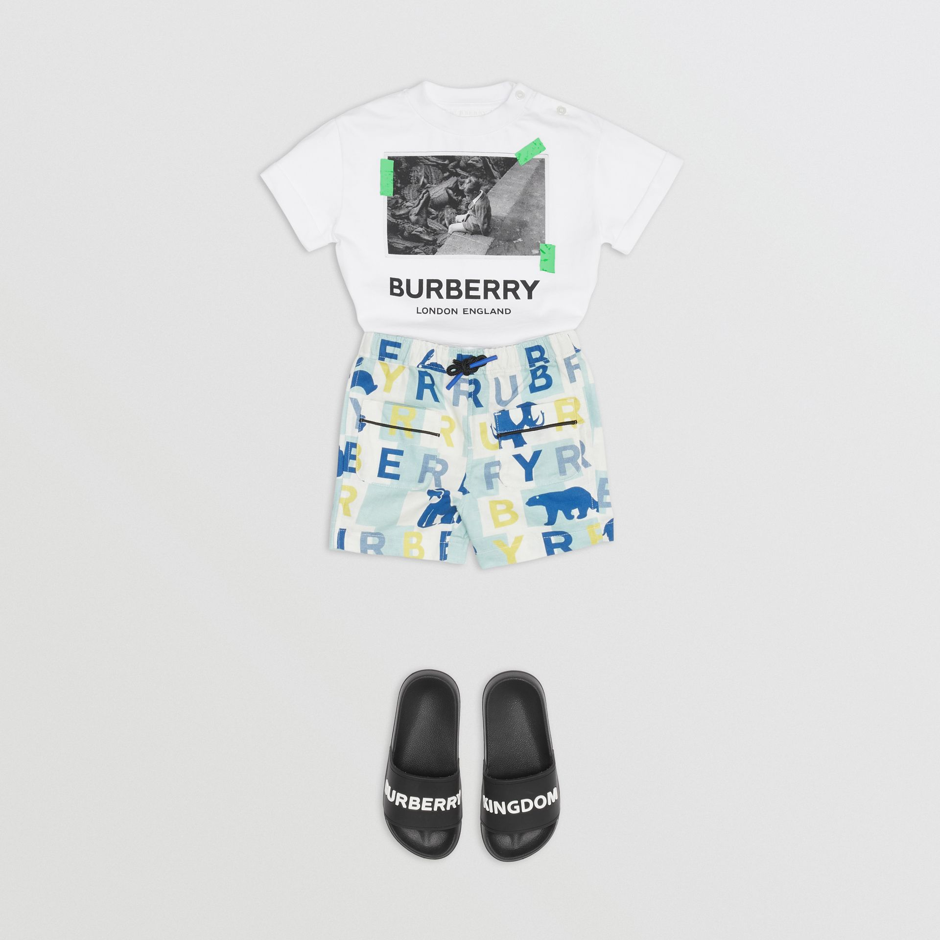 Vintage Photo Print Cotton T-shirt in White - Children | Burberry Canada - gallery image 3