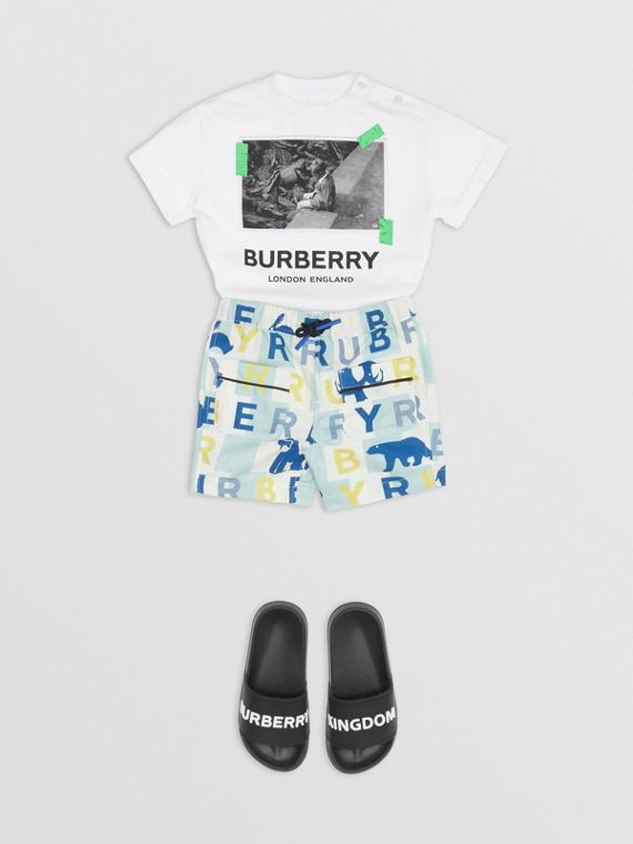 T-shirt en coton à imprimé photo vintage (Blanc)