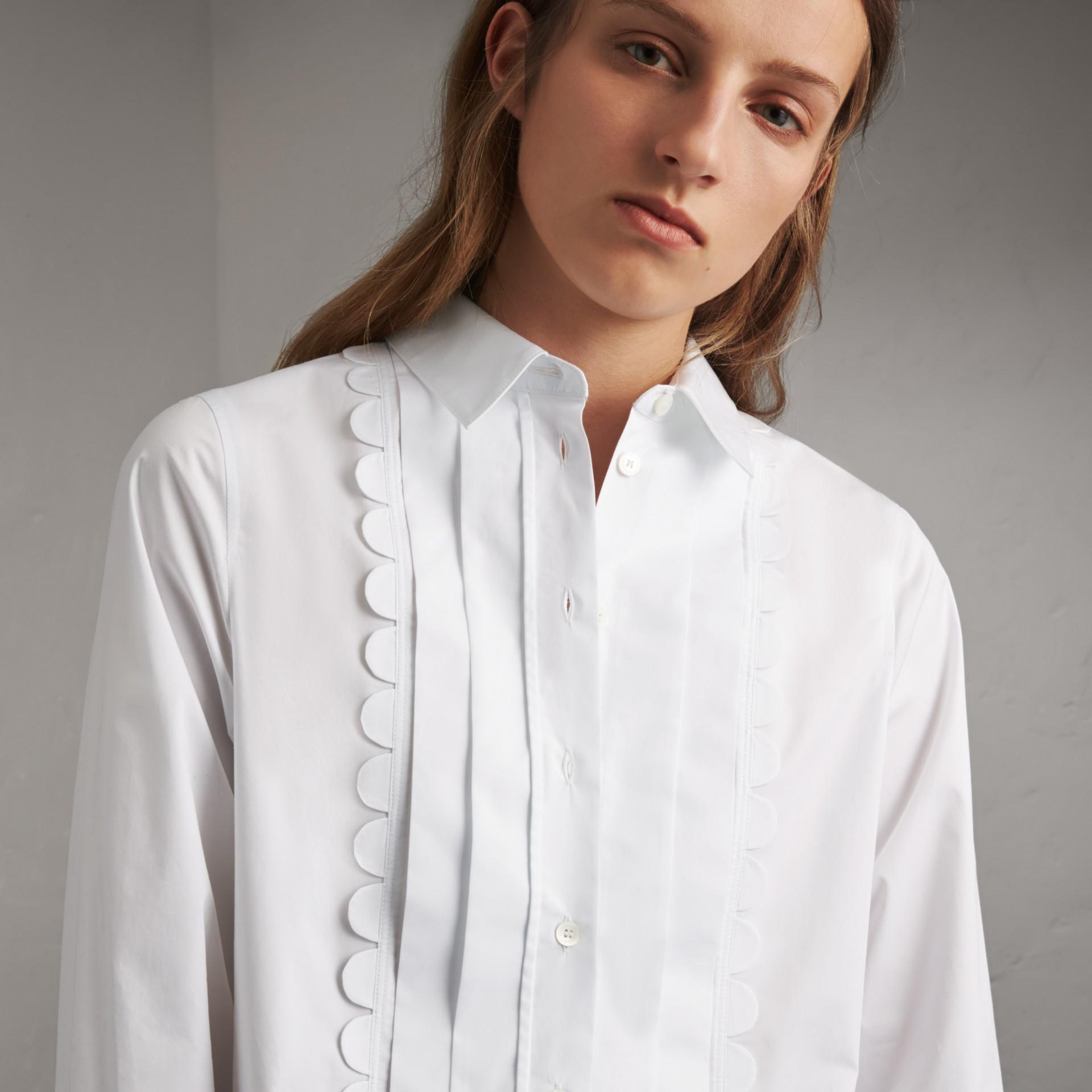 Pintuck Bib Scallop Detail Cotton Shirt - gallery image 5