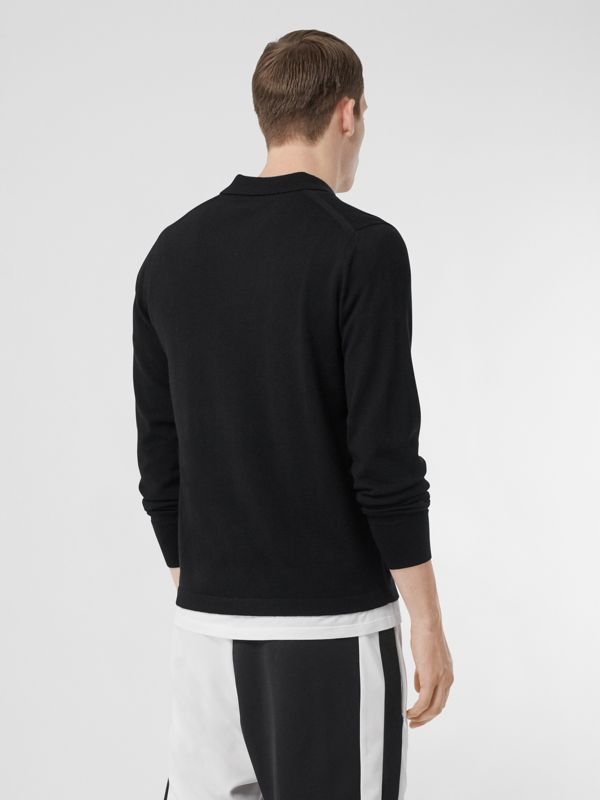 Long-sleeve Monogram Motif Merino Wool Polo Shirt in Black - Men | Burberry Singapore - cell image 2