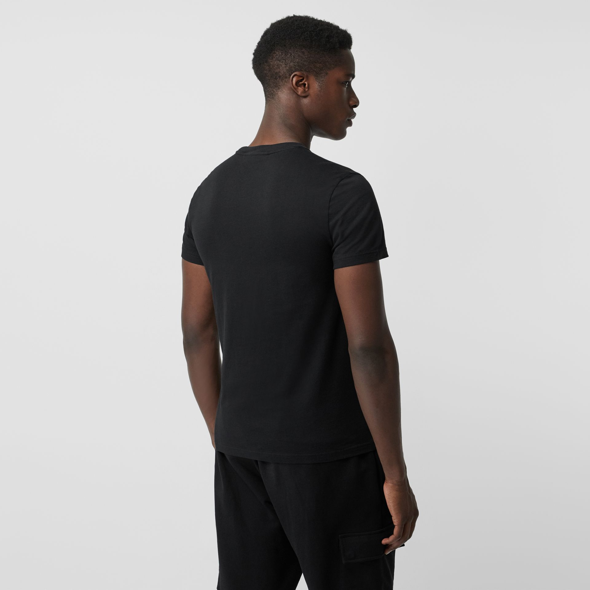 Embroidered Logo Cotton T-shirt in Black - Men | Burberry - gallery image 2