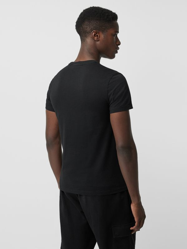 Embroidered Logo Cotton T-shirt in Black - Men | Burberry - cell image 2