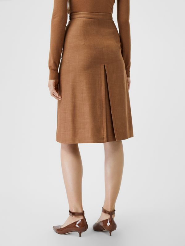 Topstitch Detail Wool Silk Mohair Linen A-line Skirt in Bronze - Women | Burberry - cell image 2