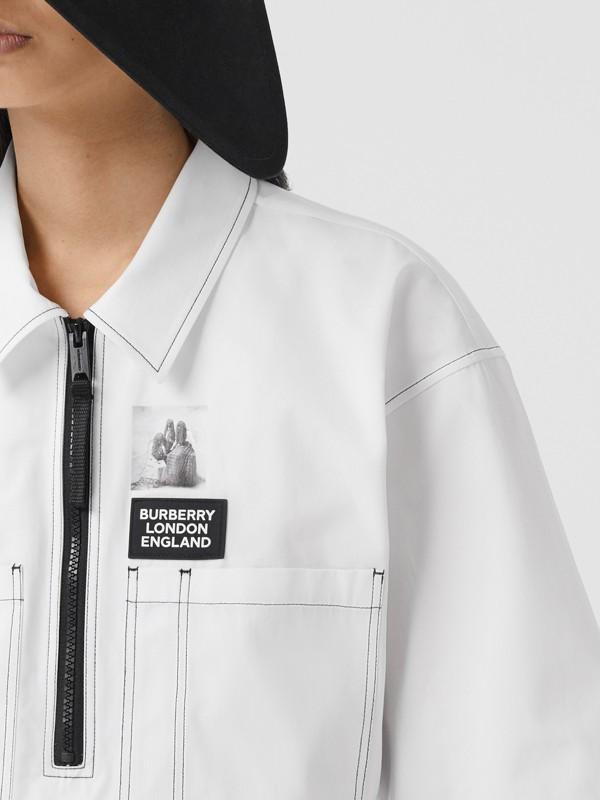 Объемная футболка с трикотажной отделкой (Оптический Белый) - Для женщин | Burberry - cell image 2