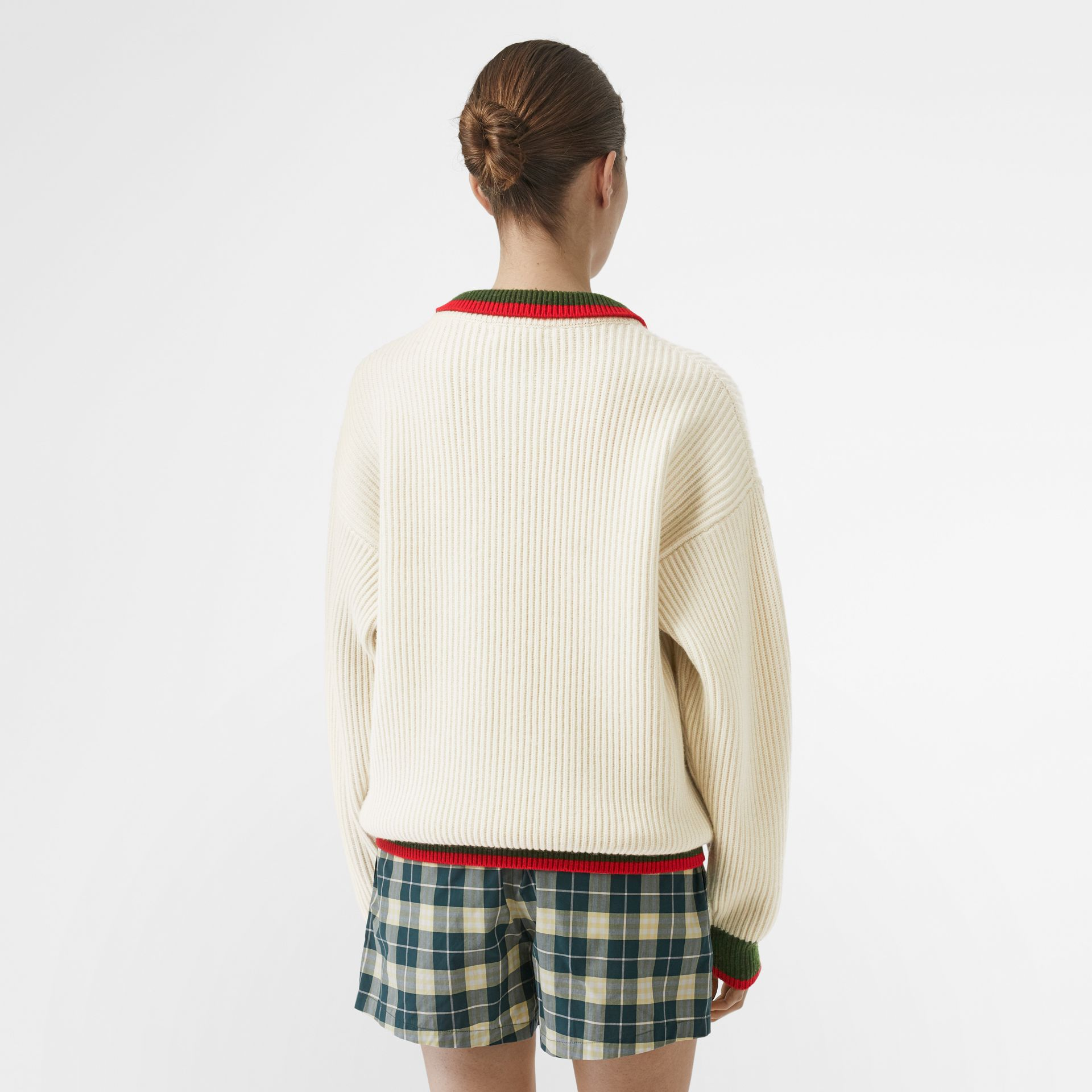 Rib Knit Wool Cashmere Sweater in Ivory - Women | Burberry - gallery image 2