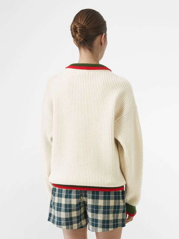 Rib Knit Wool Cashmere Sweater in Ivory - Women | Burberry Australia - cell image 2