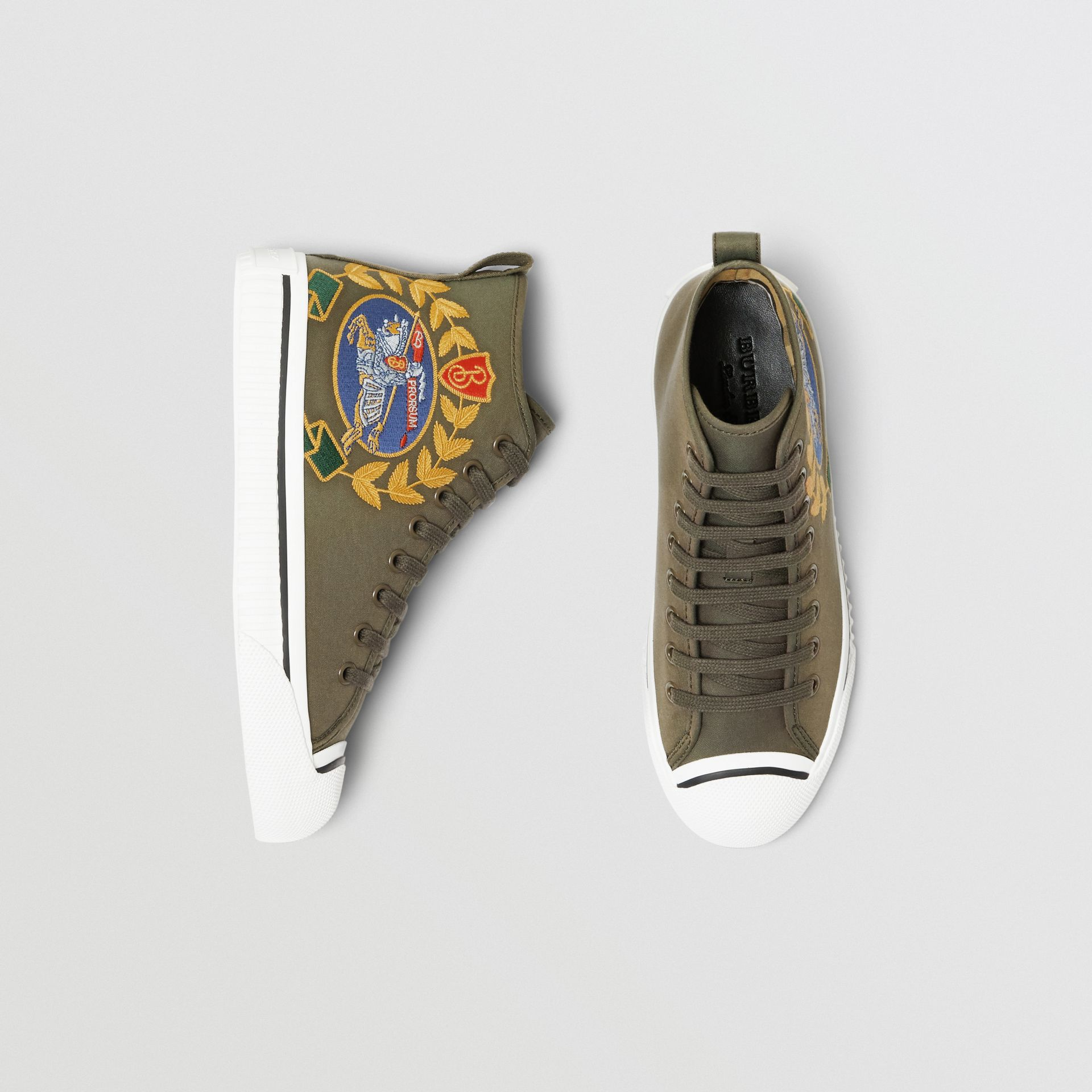 Embroidered Archive Logo High-top Sneakers in Oregano - Women | Burberry Australia - gallery image 0