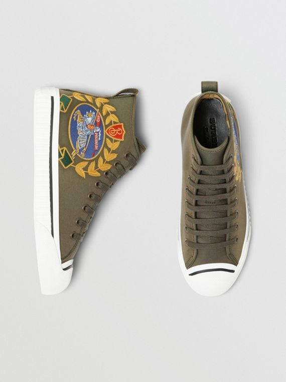 Embroidered Archive Logo High-top Sneakers in Oregano