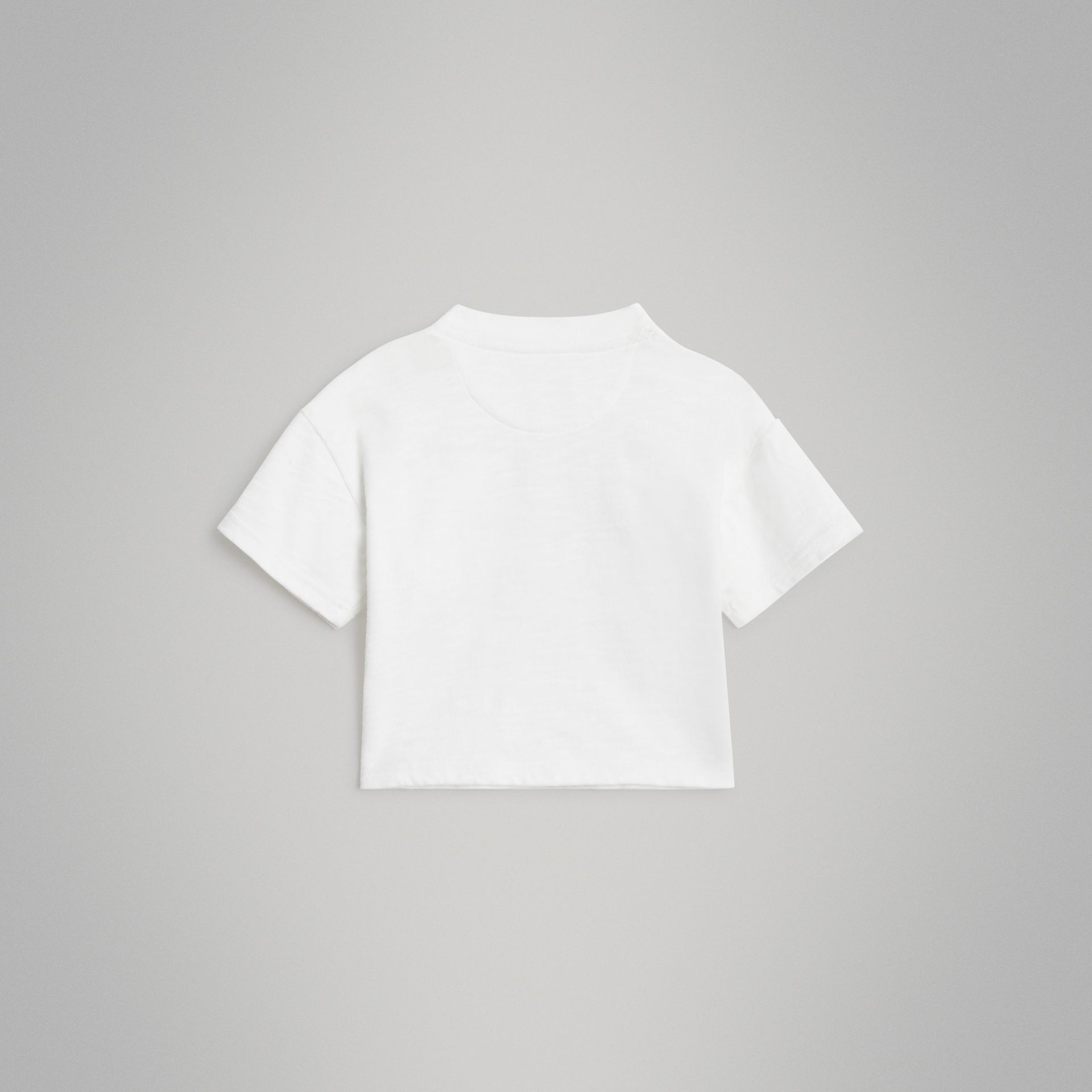 Logo Print Cotton T-shirt in White - Children | Burberry Canada - gallery image 4