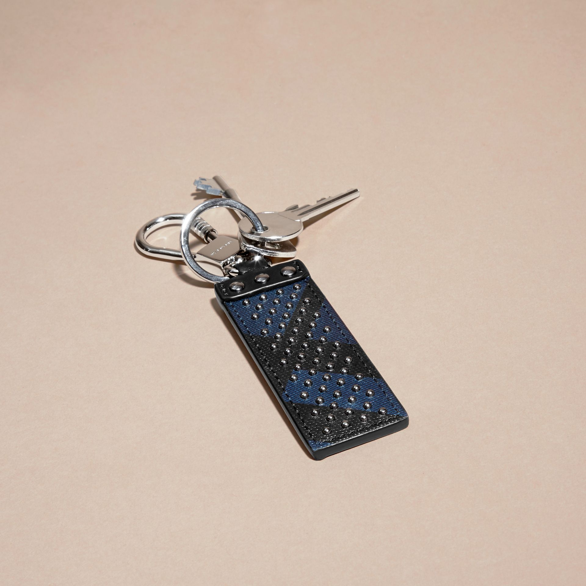 Navy/black Riveted London Check Key Ring - gallery image 3