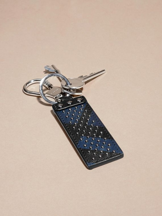 Navy/black Riveted London Check Key Ring - cell image 2