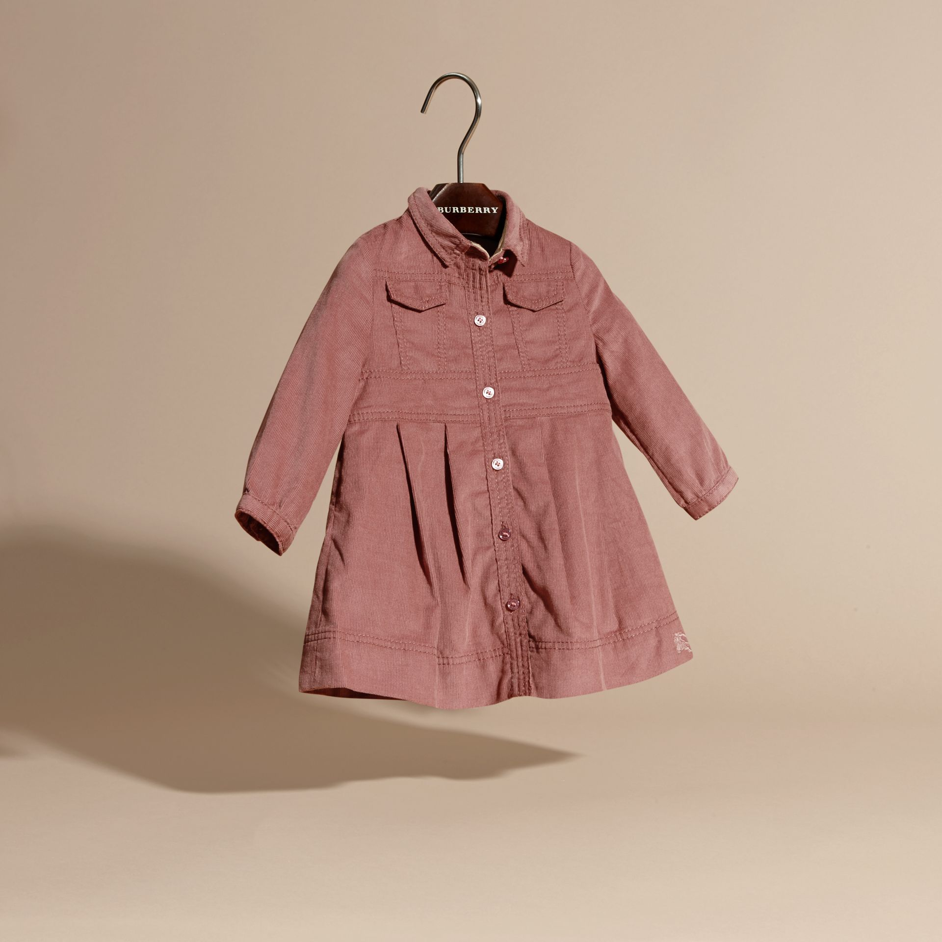 Pale ash rose Cotton Corduroy Shirt Dress Pale Ash Rose - gallery image 3