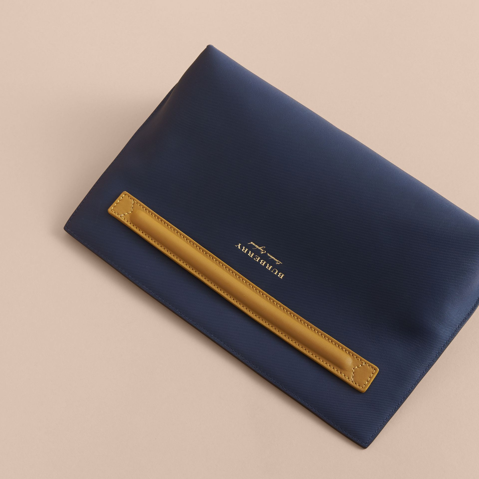 Two-tone Trench Leather Wristlet Pouch Ink Blue/ochre Yellow - gallery image 4