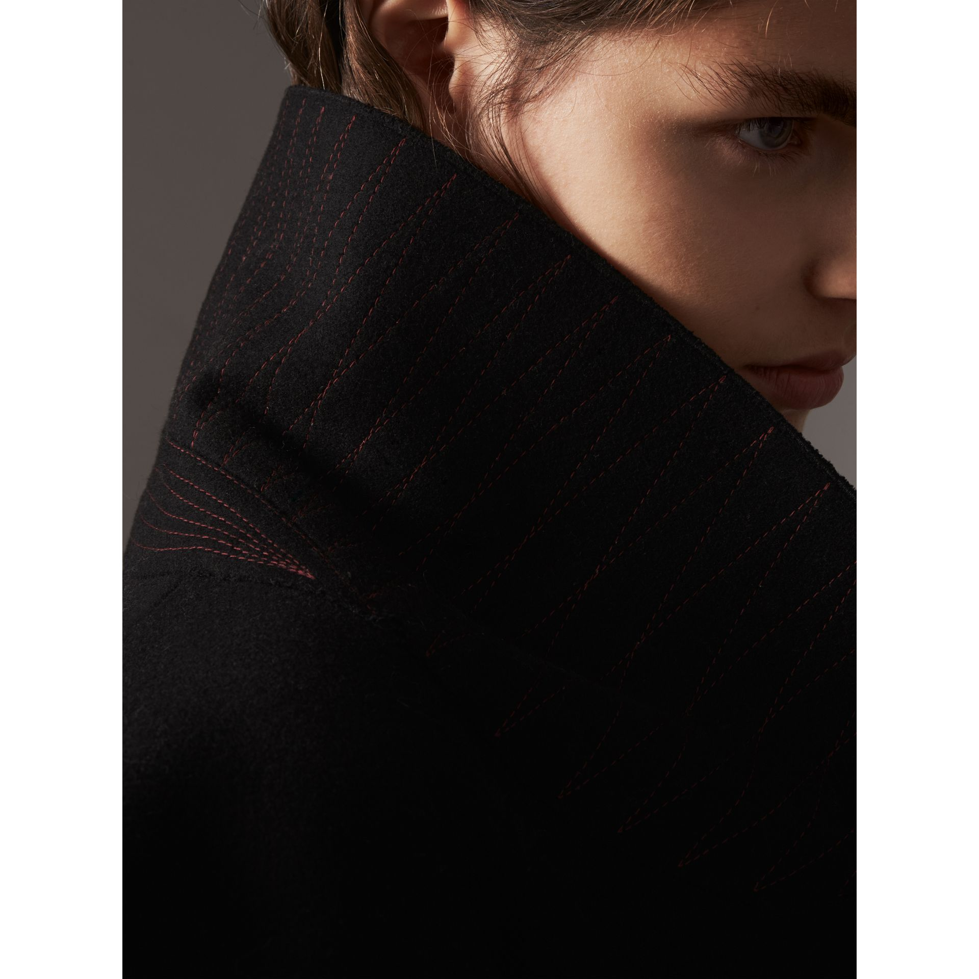 Wool Blend Pea Coat in Black - Women | Burberry - gallery image 5