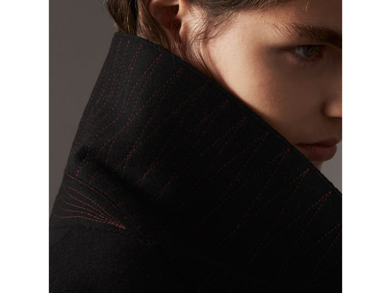 Wool Blend Pea Coat in Black - Women | Burberry - cell image 4