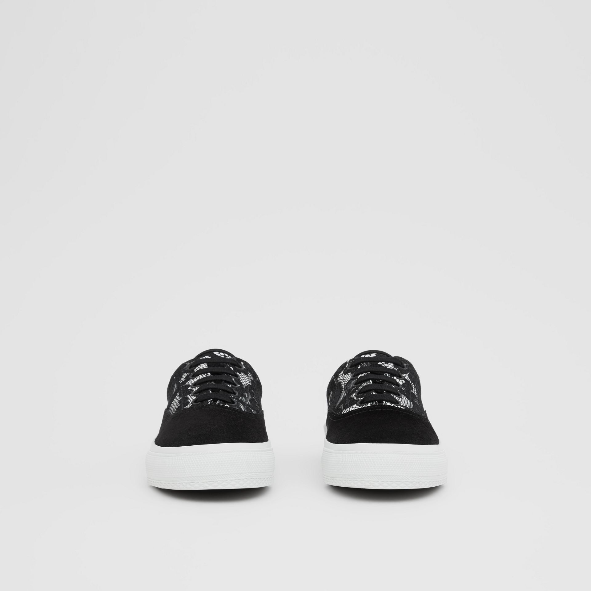Lace and Leather Sneakers in Black/white - Women | Burberry - gallery image 2