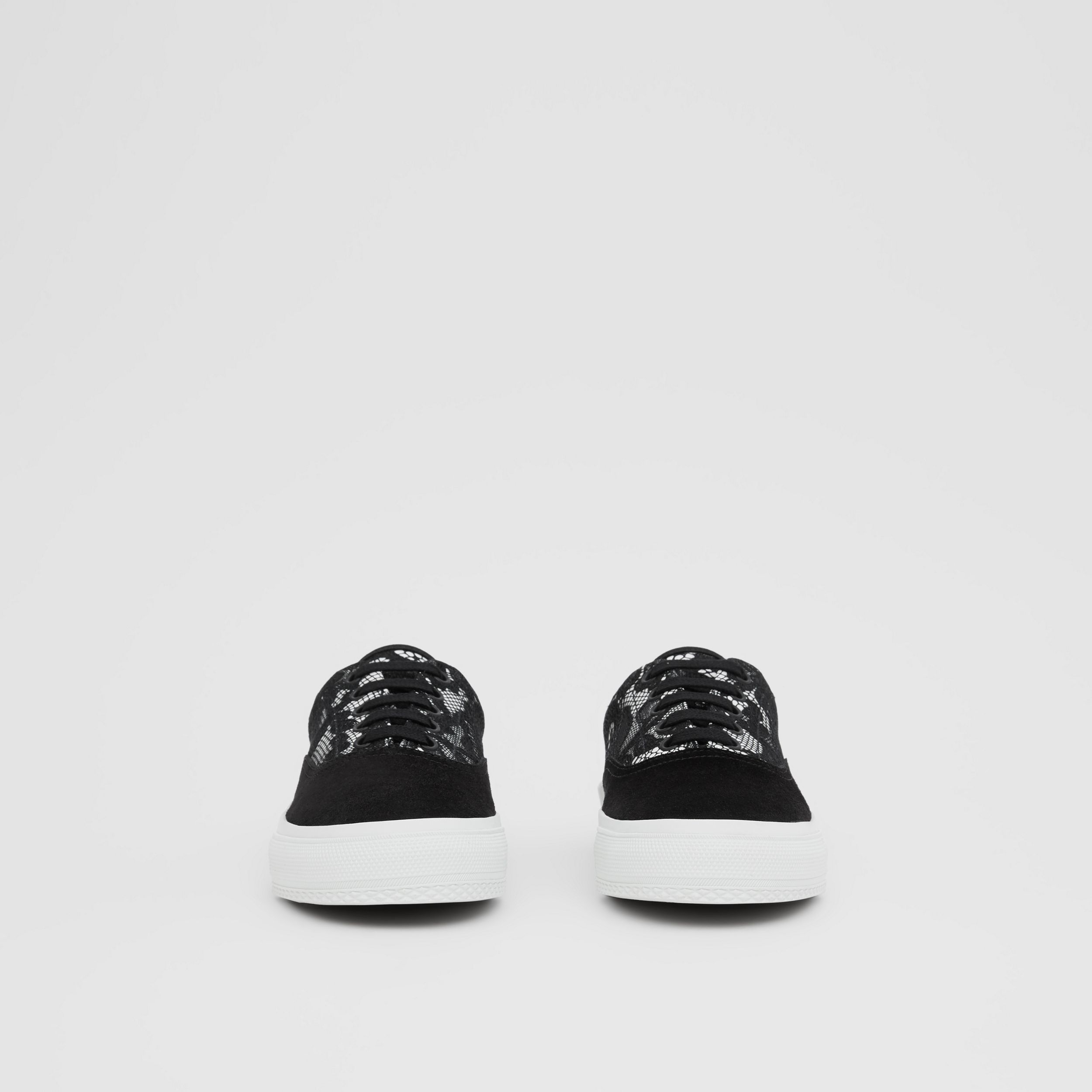 Lace and Leather Sneakers in Black/white - Women | Burberry - 3
