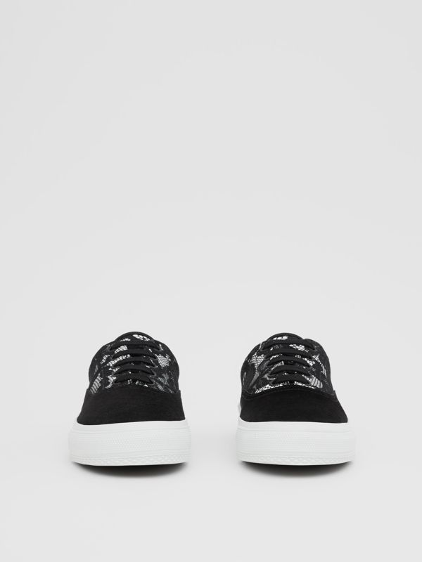 Lace and Leather Sneakers in Black/white - Women | Burberry - cell image 2