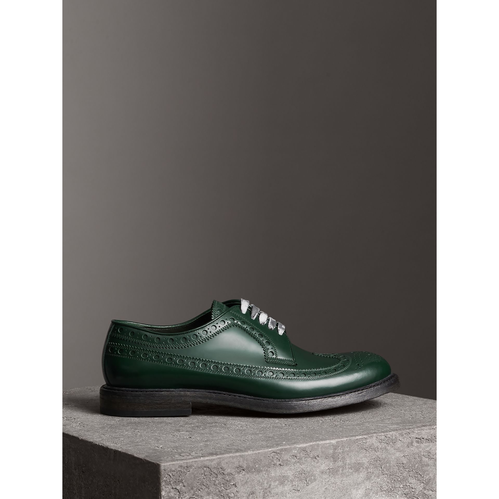 Leather Brogues with Painted Laces in Bottle Green - Men | Burberry - gallery image 4