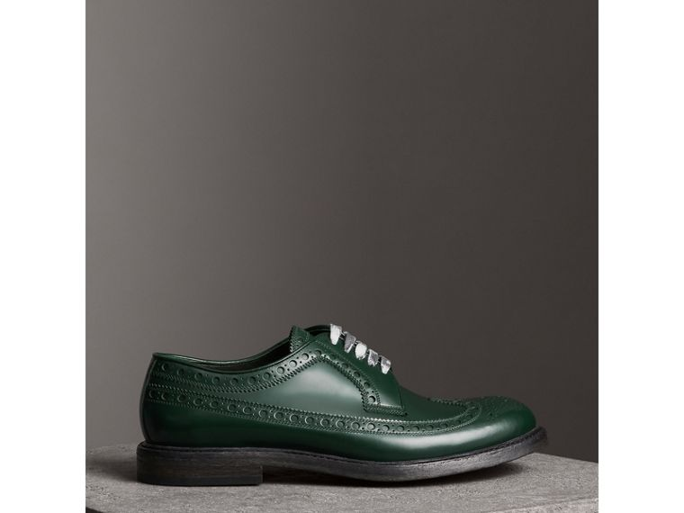 Leather Brogues with Painted Laces in Bottle Green - Men | Burberry - cell image 4