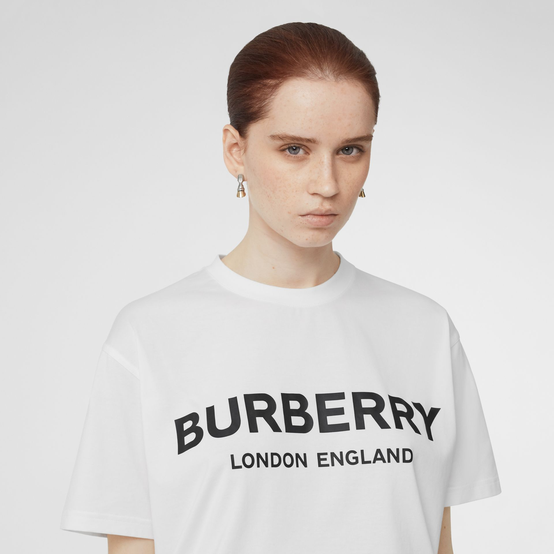 Logo Print Cotton Oversized T-shirt in White - Women | Burberry - gallery image 1