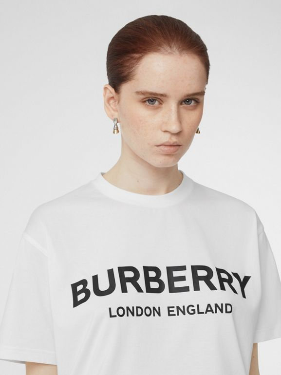 Logo Print Cotton Oversized T-shirt in White - Women | Burberry - cell image 1