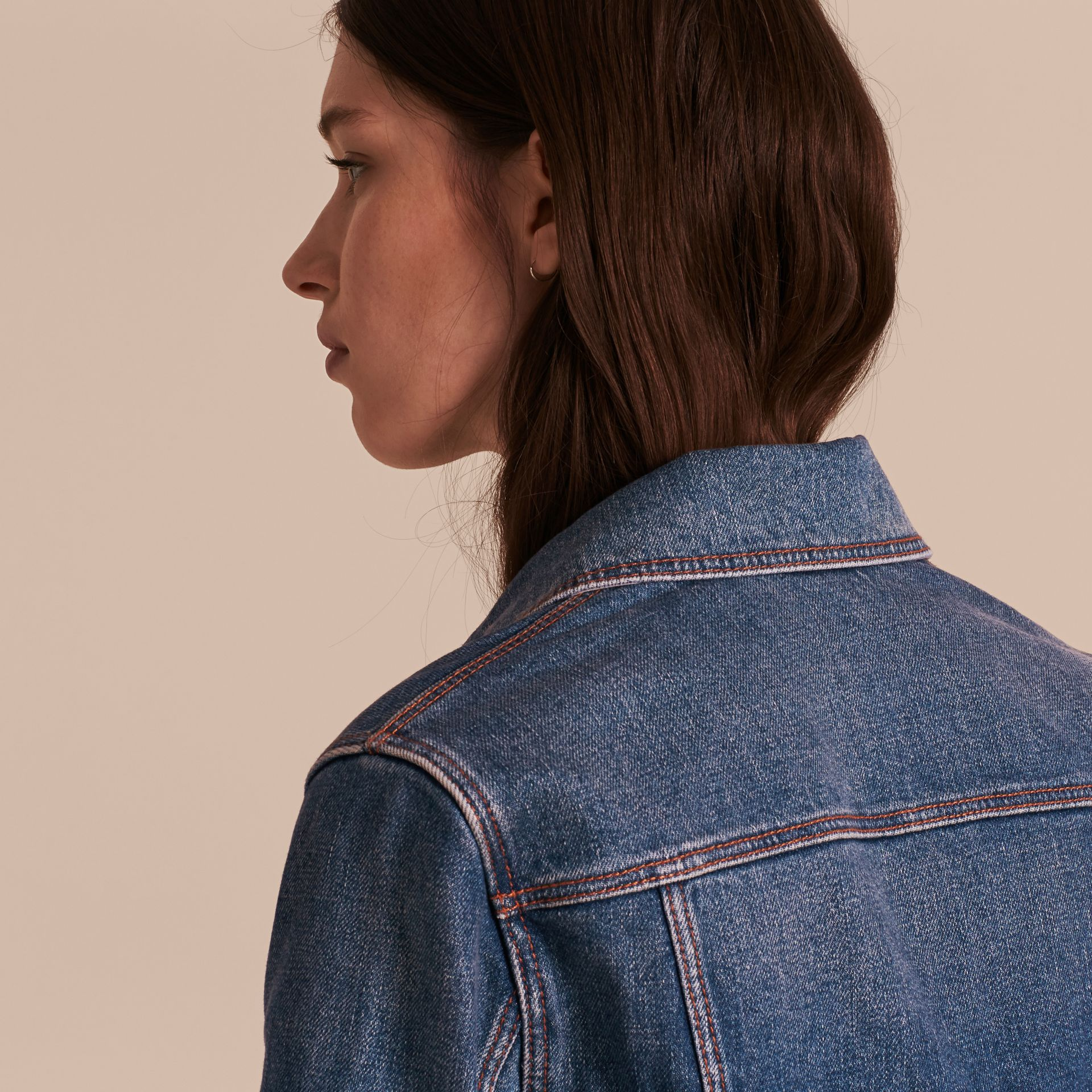 Check Detail Denim Jacket in Light Indigo - gallery image 6