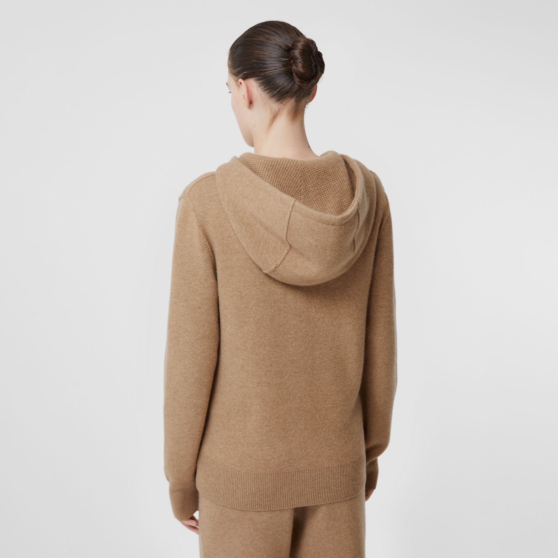 Monogram Motif Cashmere Blend Hooded Top in Pale Coffee - Women | Burberry United Kingdom - gallery image 2