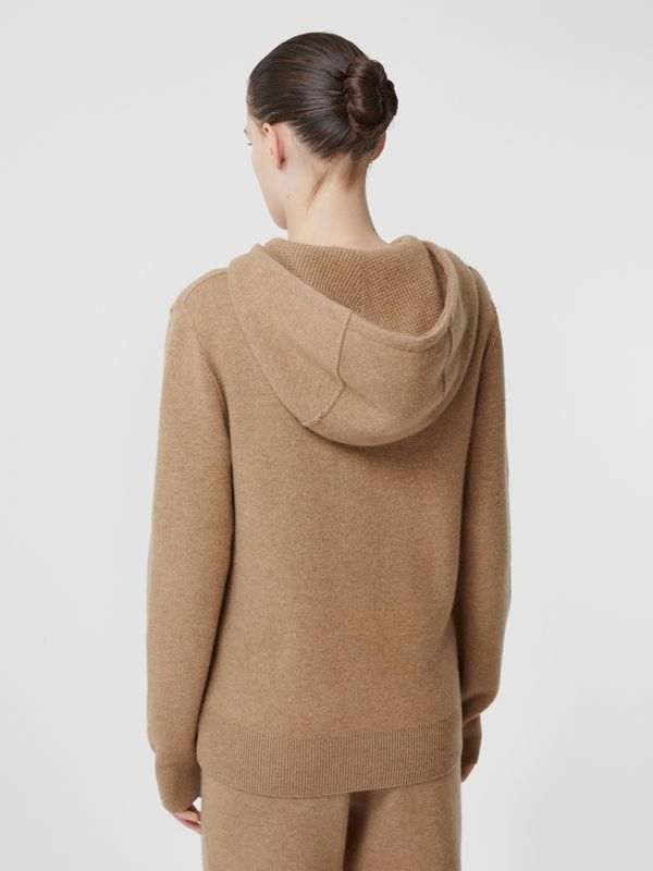 Monogram Motif Cashmere Blend Hooded Top in Pale Coffee - Women | Burberry United Kingdom - cell image 2
