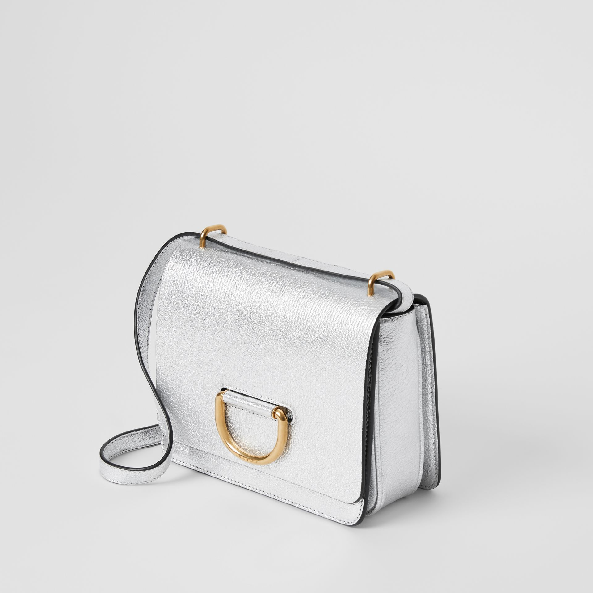 The Small Metallic Leather D-ring Bag in Silver - Women | Burberry - gallery image 4