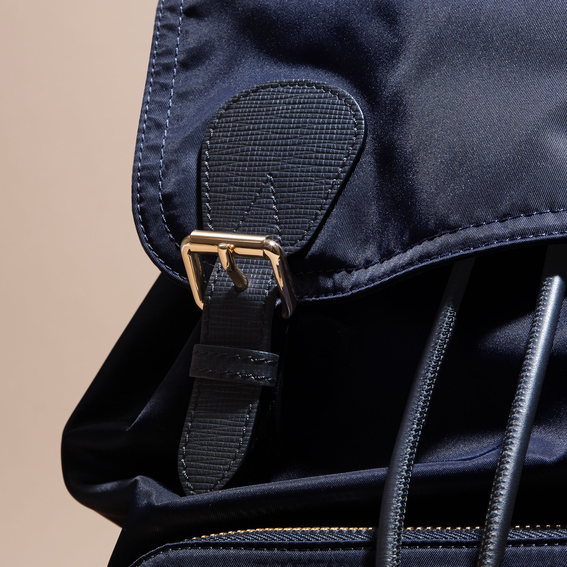 The Large Rucksack in Technical Nylon and Leather in Ink Blue - gallery image 7