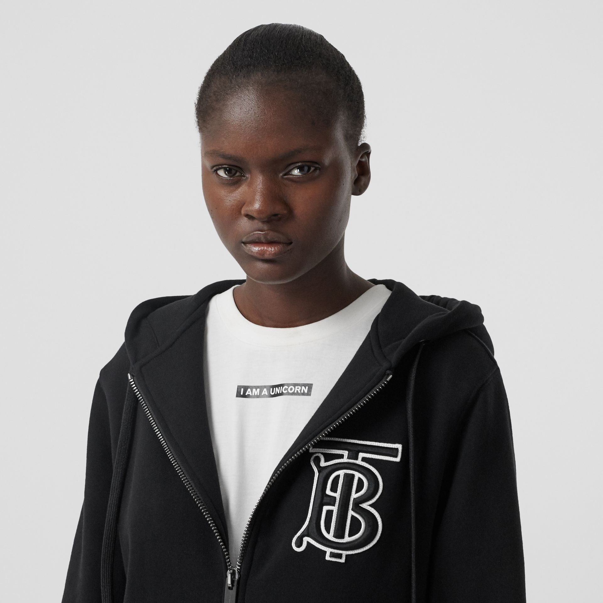 Monogram Motif Cotton Oversized Hooded Top in Black - Women | Burberry Canada - gallery image 1