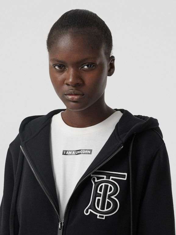 Monogram Motif Cotton Oversized Hooded Top in Black - Women | Burberry - cell image 1
