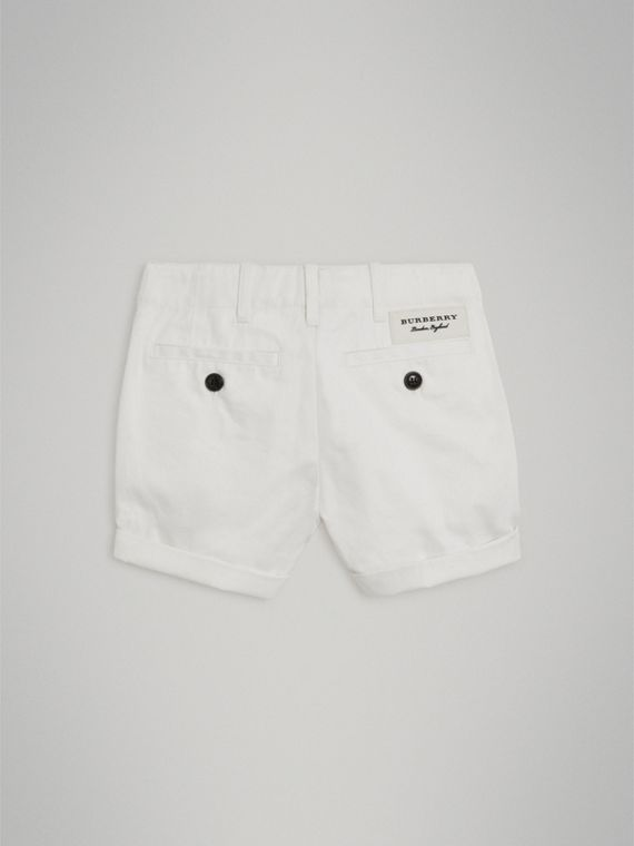 Cotton Twill Chino Shorts in White - Girl | Burberry - cell image 3