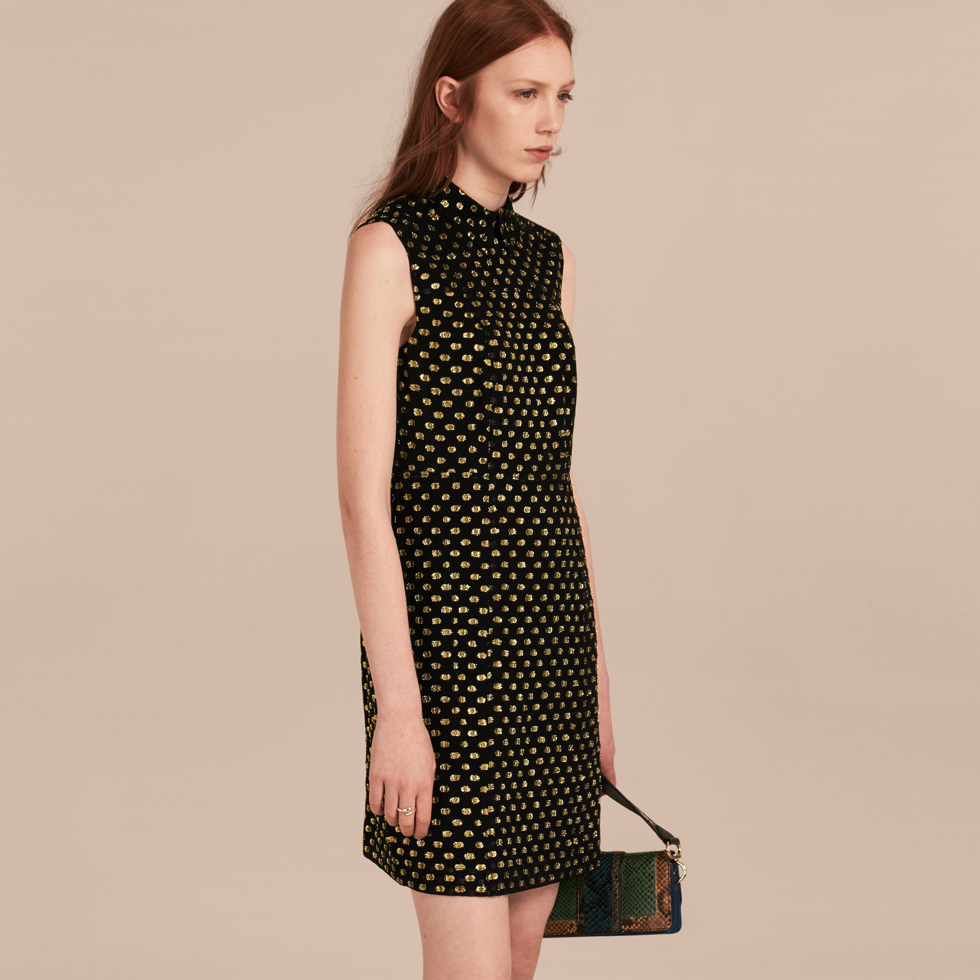 Gold/black Metallic Polka Dot Sleeveless Silk Shift Dress - gallery image 6