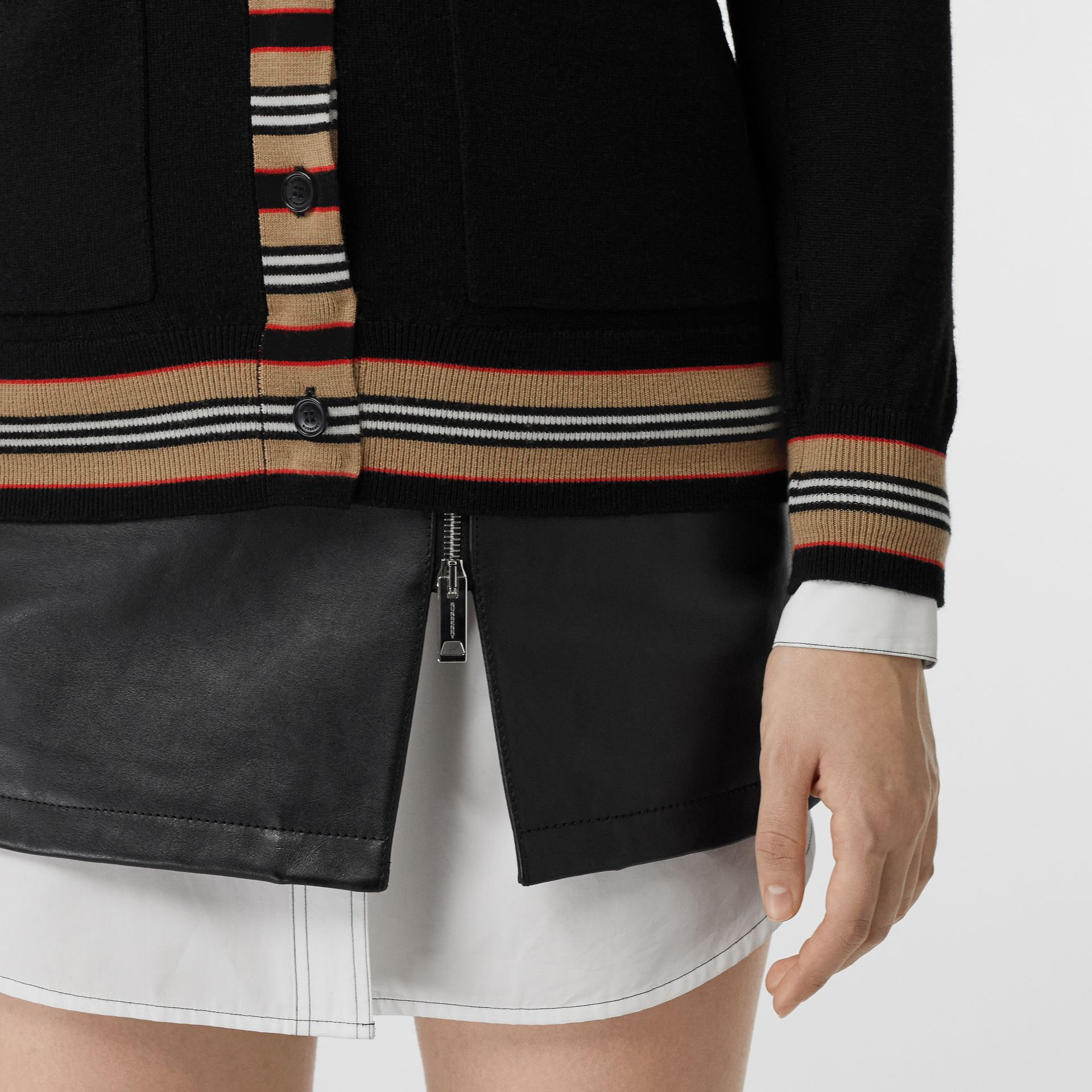 Icon Stripe Detail Merino Wool Cardigan in Black - Women | Burberry Canada - gallery image 1