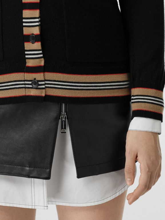 Icon Stripe Detail Merino Wool Cardigan in Black - Women | Burberry Canada - cell image 1
