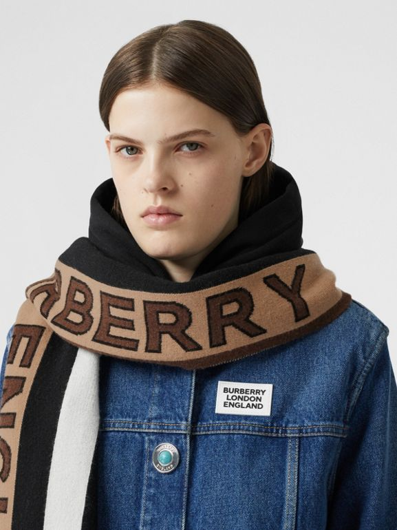 Logo Cashmere Jacquard Capelet with Sleeves in Bridle Brown | Burberry - cell image 1