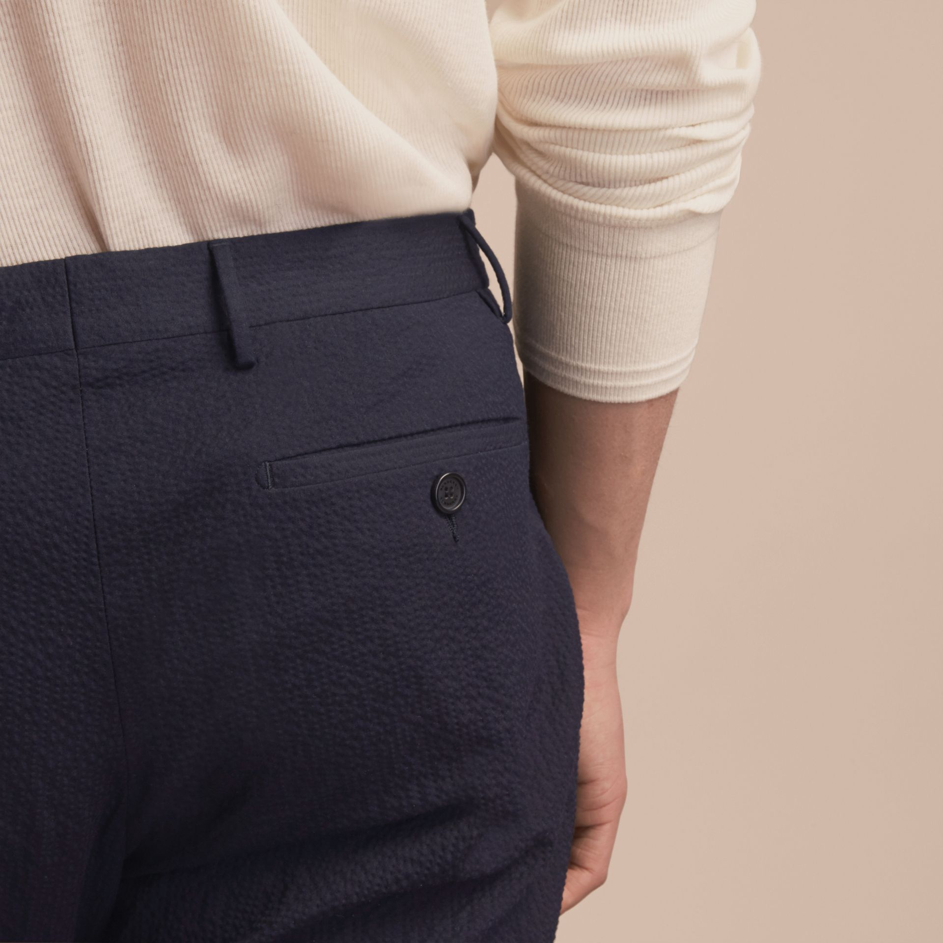 Slim Fit Textured Stretch Cotton Trousers - Men | Burberry Canada - gallery image 5