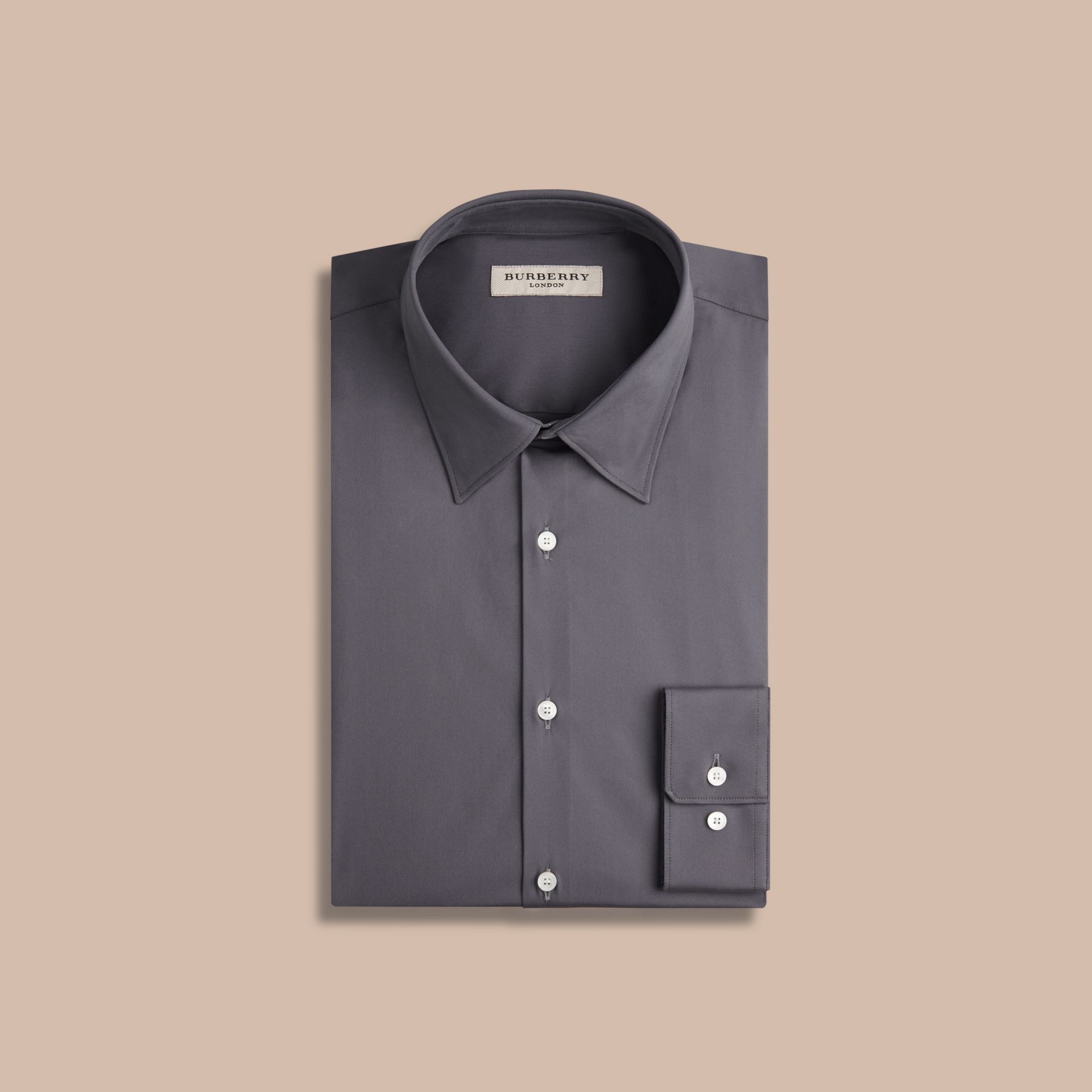 Slim Fit Stretch Cotton Shirt in City Grey - gallery image 4
