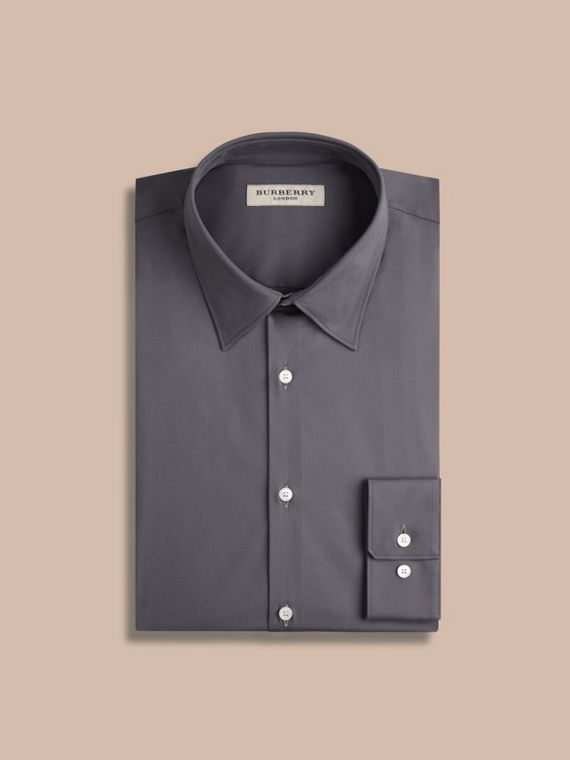 Slim Fit Stretch Cotton Shirt in City Grey - cell image 3